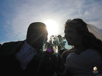 Toasting Wedding in Horse Carriage by Terri Aigner